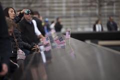 Ground Zero memorial, lower Manhattan, New York, March 2016 (Rochdale 235) Tags: nyc flowers usa newyork flower america memorial manhattan flag worldtradecenter 911 wtc september11 remembrance groundzero