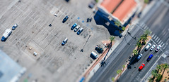 Toy Vegas: The Strip (miemo) Tags: street city travel urban usa blur cars spring parkinglot traffic lasvegas bokeh nevada olympus aerial thestrip parked omd tiltshift faketiltshift olympus1240mmf28 em5mkii
