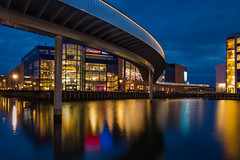 Snake (tom.leuzi) Tags: city longexposure bridge blue urban reflection water bicycle architecture night mall copenhagen wasser nacht blau brcke kopenhagen starburst kbenhavn starlight langzeitbelichtung fisketorvet explored lightstar canonef1635mmf4lisusm canoneos6d cykelslangen