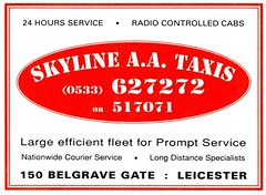 1990's ADVERT SKYLINE AA TAXIS BELGRAVE GATE LEICESTER (Midlands Vehicle Photographer.) Tags: skyline gate leicester taxis advert aa 1990s belgrave