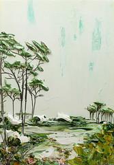 Justin Gaffrey LS24X36-2016-082 (Justin Gaffrey) Tags: white lake green art nature painting landscape artist florida acrylicpaint 30a lakescape sowal coastaldune justingaffrey