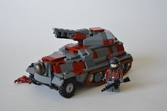 Weird War 2 Panzerwerfer SWS (~J2J~) Tags: red 2 dark weird war lego nazi wwii german sws halftrack railgun brickarms panzerwerfer citizenbrick