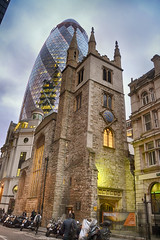 The City of London (lifeisinfinity) Tags: city uk london church architecture night arquitectura europa europe united mary kingdom foster londres axe nocturna gherkin reino unido skyscrapper stmaryaxe pepinillo