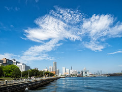Happy weekend (Ted Tsang) Tags: park travel sea sky seascape japan skyline clouds reflections landscape bay harbor cityscape olympus  yokohama  yamashita em1   katsuragawa  1240mmf28