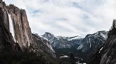 Yosemite Scene (zh3nya) Tags: california winter panorama cliff mountain snow yosemitefalls rock waterfall day gloomy falls upper yosemite granite halfdome d750 yosemitenationalpark sierranevada nationalparks yosemitevalley sigma35mmf14