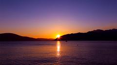 Sunset over Tivat Bay (sampollittphoto) Tags: sunset sun mountain water silhouette europe dusk montenegro tivat kotorbay
