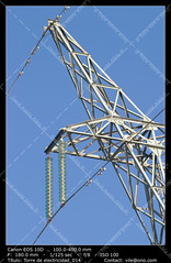 Electric pylon (__Viledevil__) Tags: blue sky espaa tower station electric skeleton march wire construction energy framed main cable structure line beam electricity solitary cdiz masts transmission direct volts voltage confinement insulator