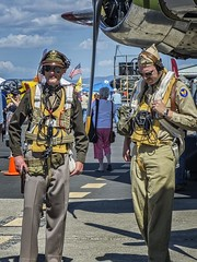 Two WWII reenactors discuss tactics at the 2014 Air Show of the Cascades near Madras, Oregon (mharrsch) Tags: oregon airplane aircraft aviation wwii madras airshow navigator pilot reenactor aircrew mharrsch airshowofthecascades ericksonairmuseum