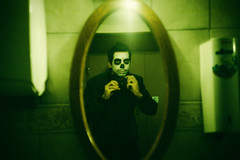 Sugar skull selfie. (Markus Moning) Tags: portrait reflection film me analog self 35mm myself skull mirror schweiz switzerland lomo lca xpro lomography cross spiegel ct toilet sugar wc processing 100 process lc agfa expired spiegelung ch reflektion fasnacht selfie moning sanktgallen altsttten precisa markusmoning