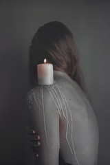 Keeping the Flame Alive (Abby Kroke) Tags: woman girl lady female hair naked nude back focus candle hand arm emotion skin body bodylanguage indoor wax freckles concept emotional emotive