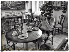 Teabreak at table 11 (plattlandtmann) Tags: blackandwhite teabreak sureal mixedapps ipadart