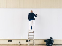 - 6 - (maxjomoore1993) Tags: street blue white man black male wall composition painting bag candid ladder framing decorate iphone