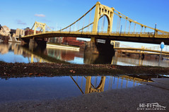 Puddle View (Hi-Fi Fotos) Tags: street city bridge urban reflection yellow river puddle nikon downtown pennsylvania wide tokina trail allegheny 6th d5000 1120mm hallewell hififotos tokinaaf1120mmf28