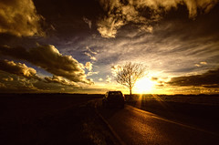 Discovery (nigdawphotography) Tags: road light sunset sky cloud sun tree car clouds rural drive countryside driving 4x4