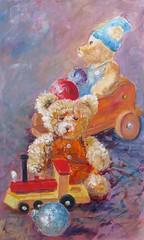 Les natures mortes de l'atelier. Lundi 14 12 2015 (geneterre69) Tags: toy noël jouet ours naturemorte peluches acrylique formatvertical