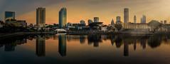 Sunrise on the river (.Randy.) Tags: city panorama reflection sunrise cityscape singaporeriver