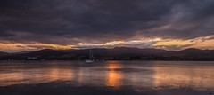 Cloudy sunset (hoomanz) Tags: sunset mountain reflection water cloudy meeting tasmania howden