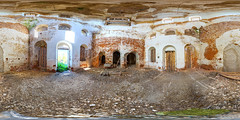 Abandoned church in s.Trestna (ilya_yakunin) Tags: panorama church nature architecture canon village russia 360 360x180 spherical 360 sphericalpanorama equirectangular 18135 photosphere 550d canon550d canoneos550d  trestna