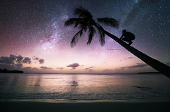 S T A R D U S T (25yo   French   Photo-Retoucher) Tags: ocean blue sunset beach stars landscape nikon space stardust voie 14mm lacte d810 1424mm kirawashere