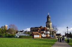 Walking to Church (Sundornvic) Tags: park blue light sky sun green tower church grass town shine cross centre historic shrewsbury quarry stchads