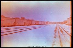 (|Digital|Denial|) Tags: railroad winter sky snow colour analog 35mm crossprocessed traintracks trains slidefilm ektachrome filmgrain expiredfilm traincars colourshift retrochrome