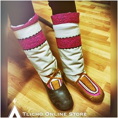 #Oscar night! #Beautiful #mukluks with hot #leopard pattern on our former #Tlicho  student Brittany from #Behchoko (Tlicho Online Store) Tags: beautiful oscar leopard mukluks behchoko tlicho
