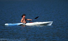 Topless Paddler (Vurnman) Tags: california lake perception kayak topless norcal 12 prodigy moobs nevadacounty scottsflatlake cascadeshores