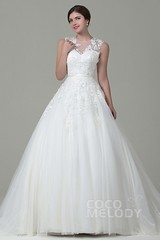 3 (moffy01) Tags: wedding train court with dress natural illusion zipper tulle aline queenly sleeveless appliques