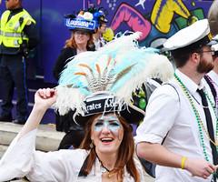 Pirates Alley feathered hat - Krewe of Tucks parade (Monceau) Tags: walking women colorful neworleans feathers parade pirate mardigras beadwork piratesalley streetnames kreweoftucks damesdeperlage