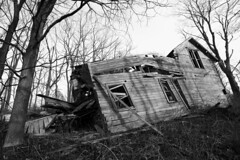 slanted house (natevanaskie) Tags: new york blackandwhite house abandoned broken nature decay finger lakes upstate ithaca