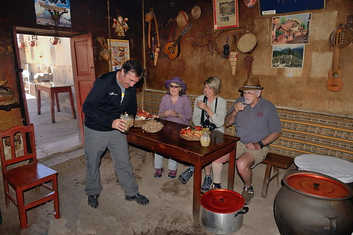 Peter LC Sue-CliffBusby in kitchen of cafe in Sacred Valley of Peru-04 5-26-15