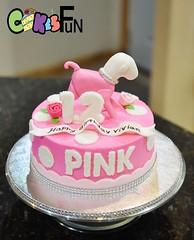 Pink birthday cake (bsheridan1959) Tags: pink dog cake polkadots rhinestones fondant buttercream girlscake fondantdog