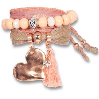 """""""Light Marsala Love"""" – Magic Love Armband aus Saris, Roségold"""