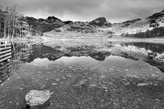 a moment of calm (scottprice16) Tags: uk morning england mountains reflection water clouds march blackwhite spring tripod lakedistrict calm hills cumbria langdalepikes 18135mm blewtarn fujixt1