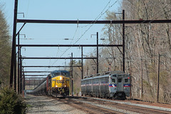 CSX meets SEPTA (Darryl Rule's Photography) Tags: train pennsylvania trains pa oil ge freight westbound eastbound csx freighttrain yardley htm csxt tier4 yn2 edgewoodrd yn3 mixedfreight oiltrain q410 k139 q438 oiltrains stonyhillrd trentonsub k13913