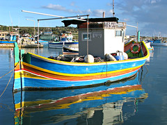 Leonardo da Vinci in Marsaxlokk Harbor (Carl Neufelder) Tags: water harbor boat colorful mediterranean waterfront malta explore fishingboat marsaxlokk explored