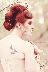 Nightingale (Kelly McCarthy Photography) Tags: portrait woman tree bird beautiful beauty leaves fashion birds closeup tattoo vintage outdoors model branch bokeh victorian makeup style tattoos redhead gloves portraiture tophat corset redhair birdtattoo bokehwhores