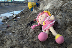 pink dolly - day 68 (Justin van Damme) Tags: pink snow found store spring garbage junk melting winnipeg little object dirty thrift dolly