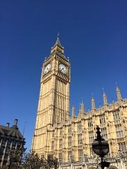 Full sun, no cloud  (markshephard800) Tags: england london clock westminster sandstone gothic masonry parliament commons bigben bluesky clocktower clockface pugin elizabethtower
