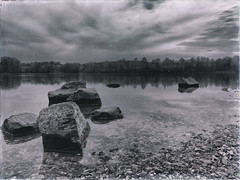 thwarted in every way possible (dK.i photography) Tags: longexposure blackandwhite film antique grain iphone littlesenecalake blackhillsregional
