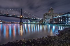 Brooklyn Long exposure (karinavera) Tags: nyc longexposure travel bridge newyork reflection colors brooklyn river landscape cityscape manhattan slowshutter nikond5300