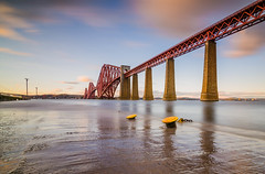 rail bridge (blairmchattiephotography) Tags: bridge blue sunset red sky water scotland pier edinburgh long exposure fife rail calm forth serene firth