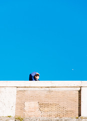 Blue (lorenzoviolone) Tags: bridge blue sky italy roma sunglasses reflex nikon bright watching stranger dslr lazio fujiastia100f fav10 vsco d5200 nikkor18105mm nikond5200 vscofilm walk:rome=april2016