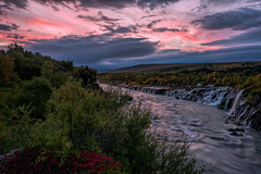 Downflow (Maddog Murph) Tags: travel pink blue trees red reflection green fall water beautiful yellow river landscape flow photography lava waterfall iceland stream glow purple outdoor tubes icon falls glacier cascade iconic outlet streaming downstream hraunfossar rivulets barnafoss