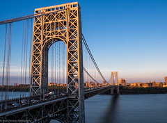 George Washington Bridge, NYC by Sunset....! (ravi_pardesi) Tags: nyc usa ny newyork beautiful architecture photography evening twilight outdoor dusk nj bridges serene georgewashington gwb eastcoast photooftheday tristate primeshot