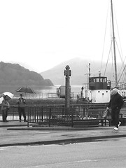 Scottish Harbour (davidbishop655) Tags: people water weather photography scotland boat blackwhite harbour photograph mountians fihing loche