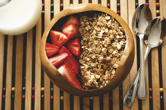 Honey & Oats Granola (flashfix) Tags: stilllife ontario canada utensils breakfast milk nikon ottawa strawberries bowl fresh almonds 40mm granola oats spoons freshfruit woodenbowl foodphotography hss 2016 sweetsunday frommykitchen d7000 nikond7000 happysweetsunday 2016inphotos april102016