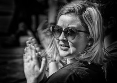 Sunglasses portrait (Daz Smith) Tags: city uk portrait people urban blackandwhite bw woman streets blancoynegro monochrome sunglasses canon blackwhite bath candid citylife thecity streetphotography blonde reflective refelction canon6d dazsmith bathstreetphotography