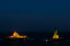Rock memorial (Anand Raghavan) Tags: longexposure blue light sea orange india seascape water rock night evening tamilnadu kanyakumari thiruvalluvar vivekanandarrock ragavanands