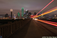 Back to the Future (The Dallas Nomad) Tags: skyline architecture night clouds lights dallas downtown boulevard texas outdoor trolley houston viaduct dfw dart lightstream